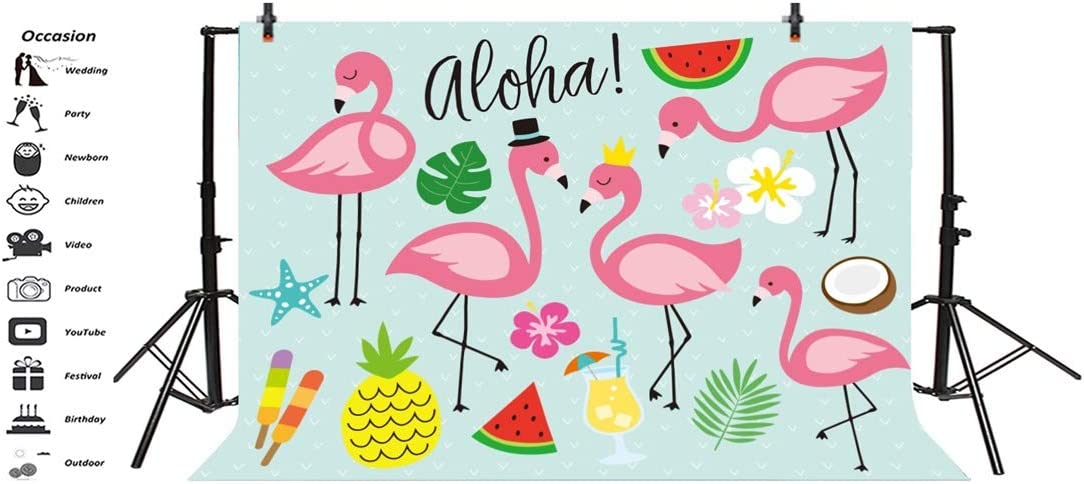 Yeele 10x8ft Flamingo Photography Background Anime Tropical Fruit Pineapple Coconut Palm Leaves Painting Summer Party Photo Backdrops Portrait Shooting Studio Props