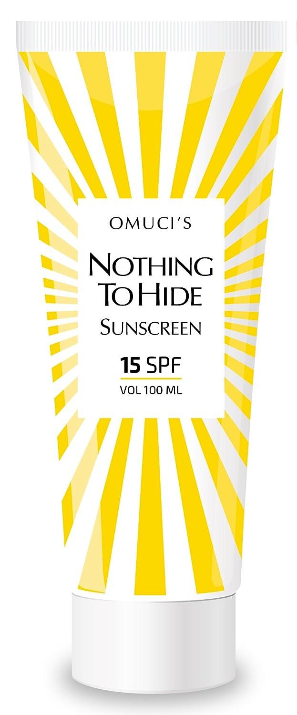 Protector solar respetuoso con el medio ambiente Nothing To Hide de Omuci's. Apto para veganos, ingredientes naturales. Protección UVA + UVB. (15 SPF, 100ml)