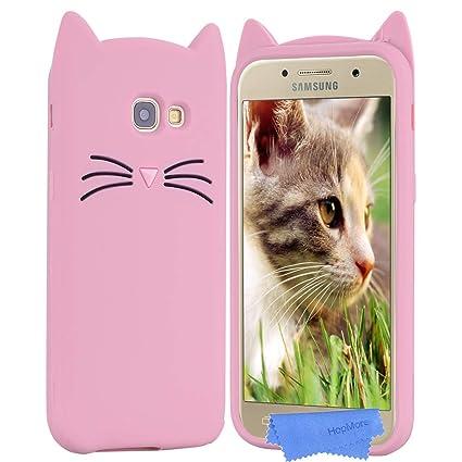 2446698c89f HopMore Gato Funda para Samsung Galaxy A5 2017 Silicona Motivo 3D  Divertidas TPU Gel Dibujo Kawaii