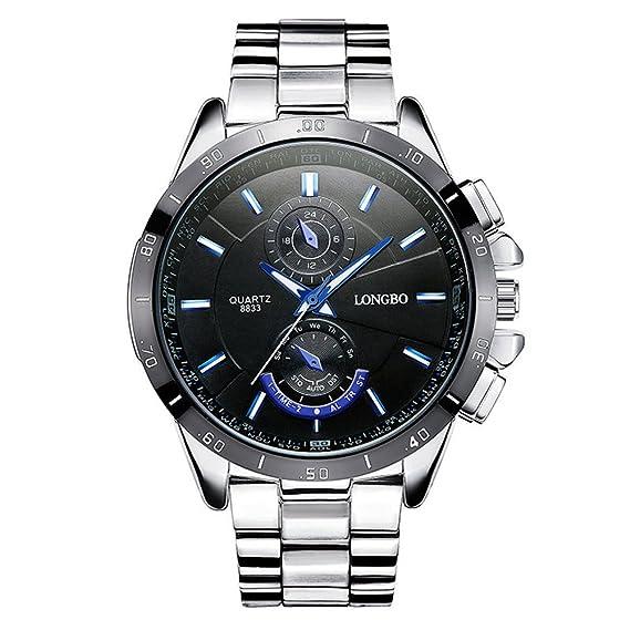 Moda Casual Relojes para Hombre - Correa de Acero Inoxidable de Lujo Luminoso Pequeños Diales Decorativos Relojes de Pulsera para Señores, ...