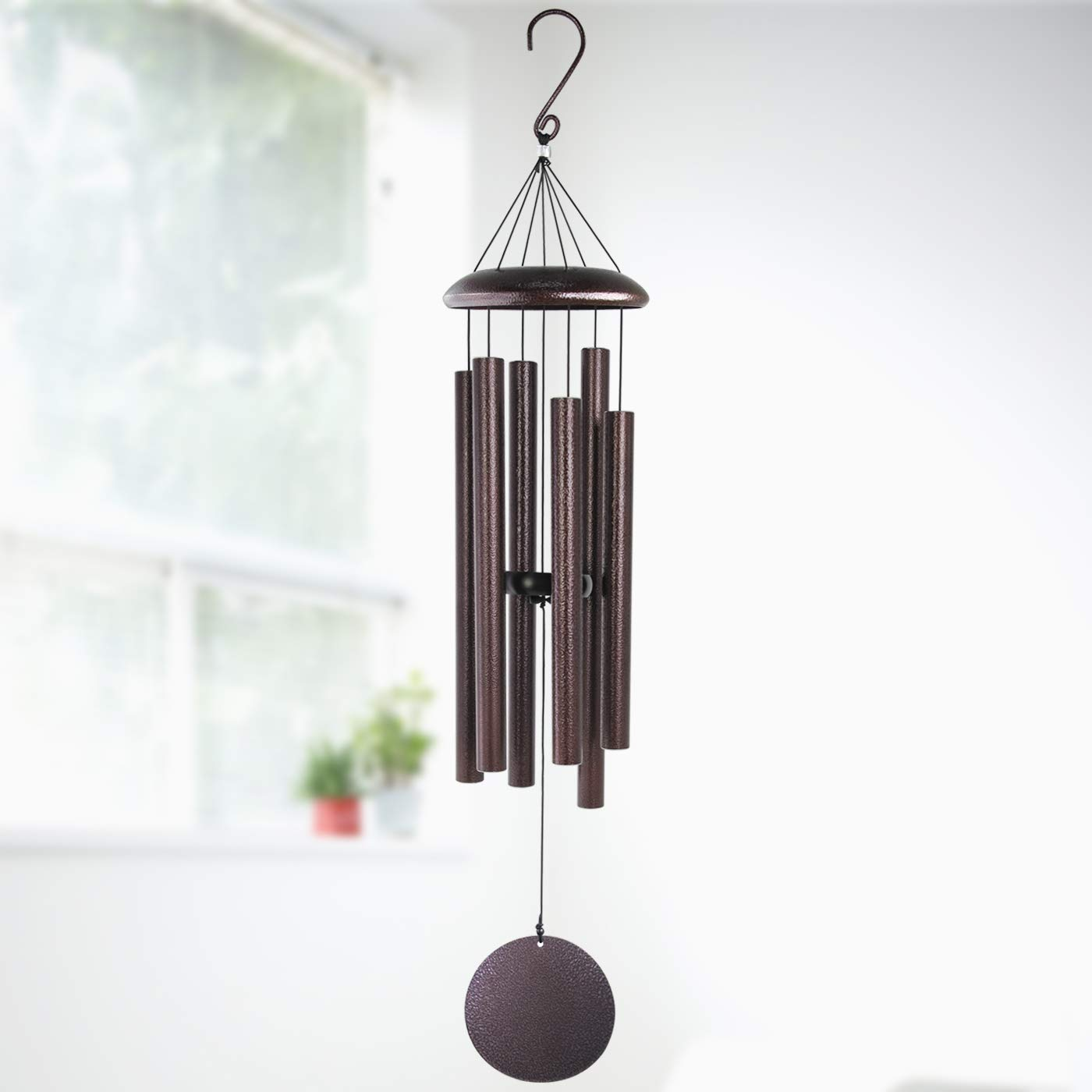 Large Wind Chimes Outdoor Deep Tone,Sympathy Wind Chimes Amazing Grace Outdoor with 6 Metal Tuned Tubes,Memorial Wind Chimes Personalized for Garden Balcony Patio and Home Decor,Bronze 36''