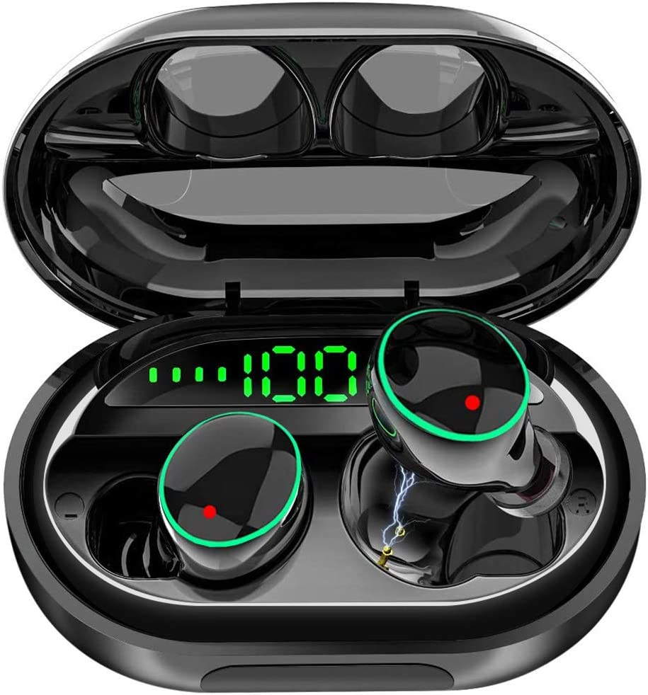 Wireless Earbuds Bluetooth 5.0 Headphones, IPX8 Waterproof Stereo Earbuds with Microphone, LED Battery Display 120H Playtime, Noise-Cancelling Headphones with Charging Case for Sports