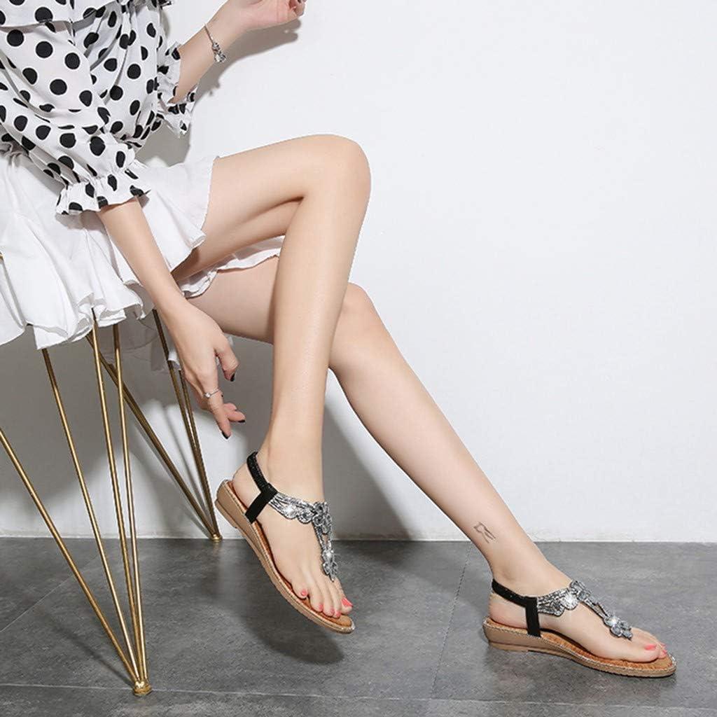 Sharemen Summer Womens Sandals Bohemian Flowers Flat Shoes Belt Buckle Clip Toe Sandals