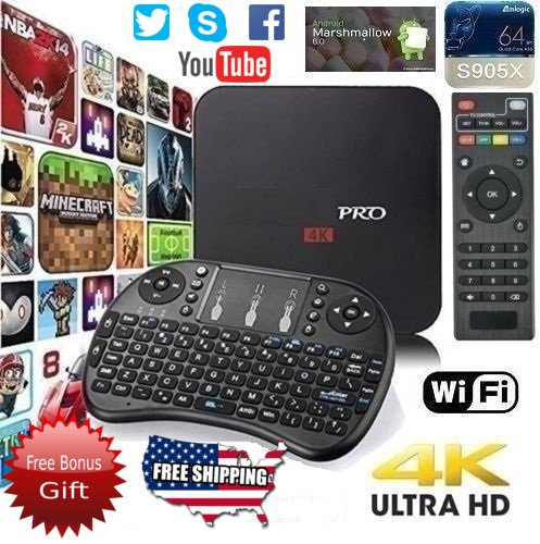 [Mega1Comp Exclusive] MXQ Pro HDTV Box UHD 1080P HD up to 4K Android OS 64 Bit Amlogic Quad Core HDMI WiFi Internet Browser Games Google Play with Mini Wireless Keyboard (Best 4k Kodi Box)