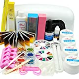 From CA, USA~~22 in 1 Pink Clear White UV Gel Kit 9W Dryer Lamp Tube UV Brush Buffer Guides Toe Seperator Glitter Powder Dryer Liquid Tools Nail Tips Glue DIY Kit