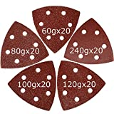 #1: XXGO 90mm Triangular 60/80 /100/120 /240 Grits Hook & Loop Multitool Sandpaper for Wood Sanding Contains 20 of Each Fit 3.5 Inch Oscillating Multi Tool Sanding Pad Pack of 100 XG9010