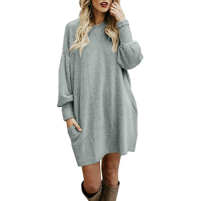 Damas Casual Color sólido Cuello Redondo Manga Larga suéter Largo Personalidad de la Calle Temperamento Vestido Largo Suelto Abrigo Camisa Ropa de Mujer ...
