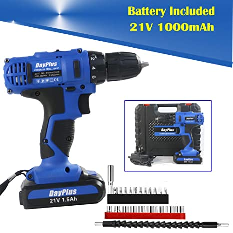 Drillong Idea Autofu 21V Electric Rechargeable Cordless Power Screwdriver Drill with Bright LED Light and 29 Piece Accessories for Easy Home DIY Screwdriving