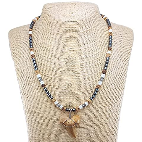 Shark Tooth Pendant on Hematite Beads Necklace with Puka Shells and Tiger Coconut Wood Beads (3S Shark - Coconut Shell Pendant