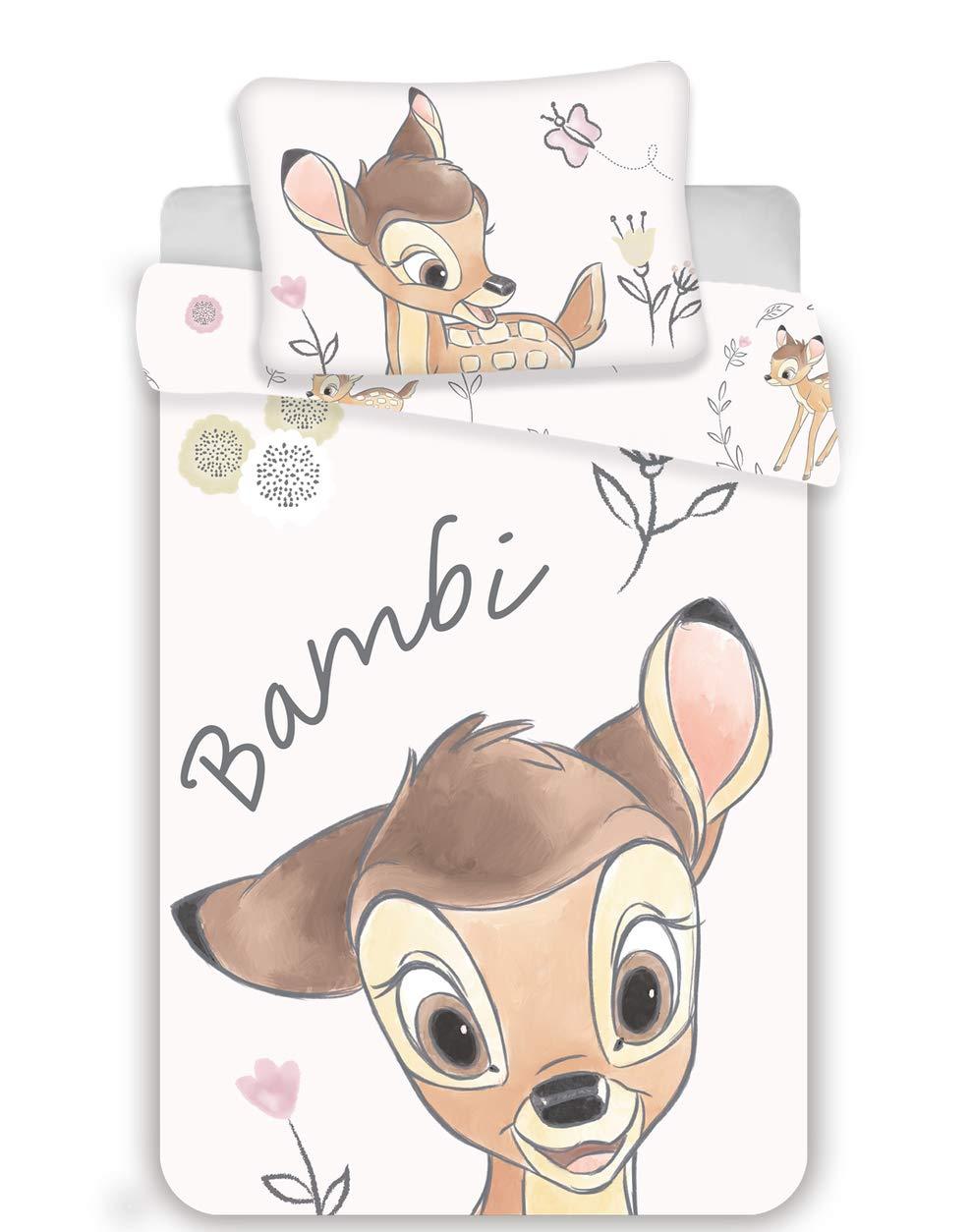 100 x 135 cm y 40 x 60 cm Juego de funda de edred/ón y de almohada para beb/é Bambi
