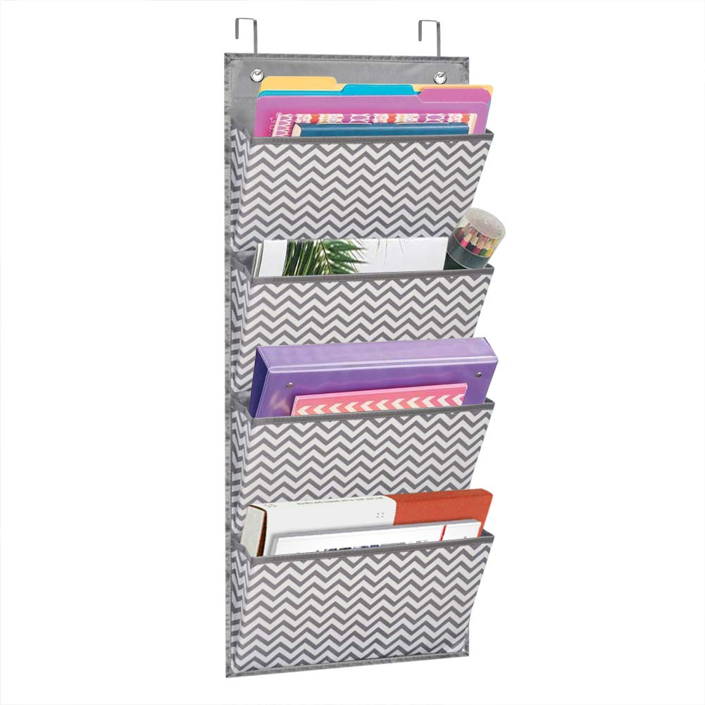 Eamay Wall Mount/ Over Door File Hanging Storage Organizer - 4 Large Office Supplies File Document Organizer Holder for Office Supplies, School, Classroom, Office or Home Use, Wave Pattern