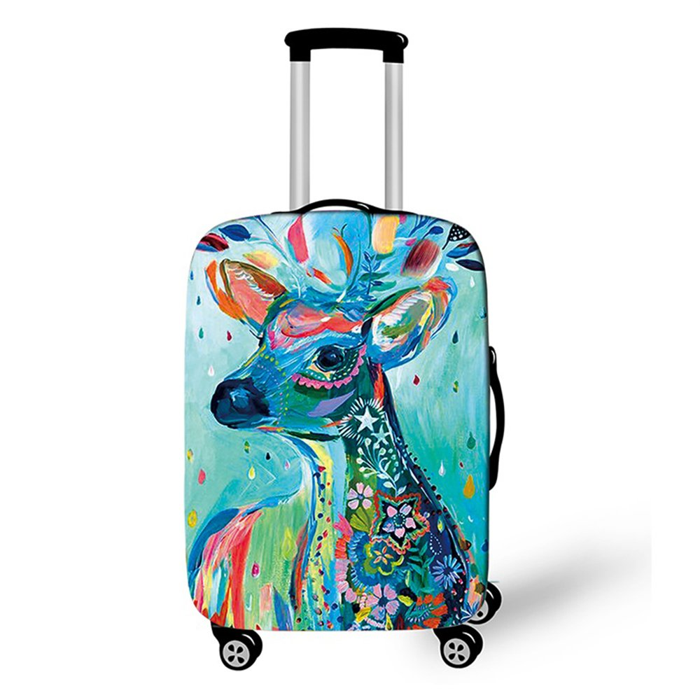 OSVINO Grande Housse Protection Valise Elastique Antipoussiè re Lavable Antichoc Animaux Magnifique S M L Durable Non Valise, cerf S/18-20' Valise cerf S/18-20 Valise