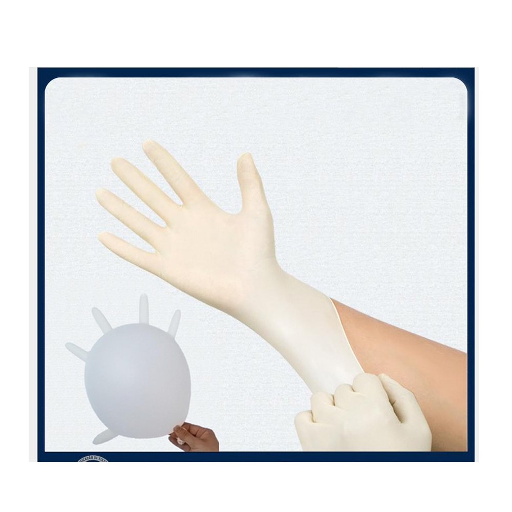 DOWELL- Green Direct Disposable latex gloves, disposable medical examination latex rubber gloves Free / Disposable Food Prep Cooking Gloves / Kitchen Food Service Cleaning Gloves100 gloves (L)