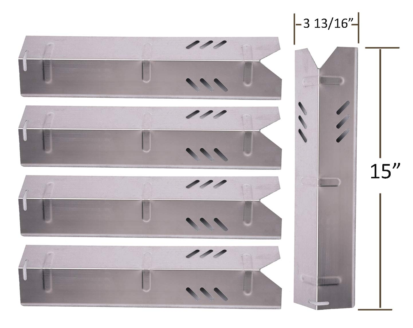 SH1591 (5-pack) Stainless Steel Heat Plate, Heat Shield for Select Gas Grill Models By Uniflame, Lowes Models and Others by BBQ funland