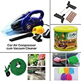 AutoSun Car Air Compressor cum Vacuum Cleaner + 4 Car Care Accessories