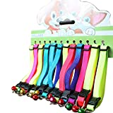 Yunt 12PCs/Pack 12 Colours Personalized Adjustable Colorful Rainbow Cat Collars With Bell