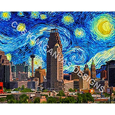 Canvas Art Print - San Antonio Starry Night - Rolled Canvas Only/Not Stretched - 10x14