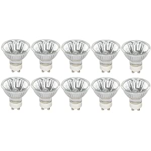 Halogen GU10 35W Spotlight 120V MR16 with Glass Cover by Simba Lighting (10 Pack) Dimmable Flood for Accent, Recessed, Track Lighting, 30° Beam Angle, Twist-N-Turn Twistline Base, Warm White 2700K