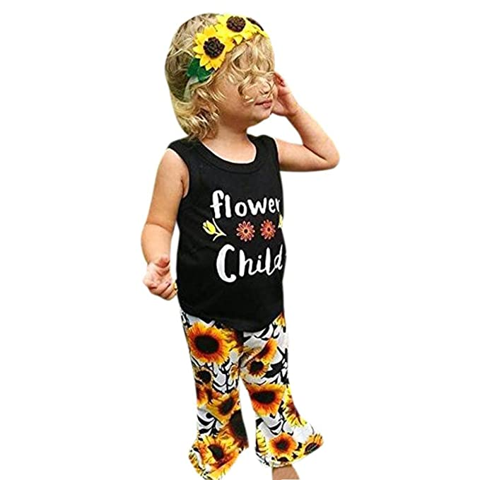 62657c9d3 Image Unavailable. Image not available for. Color: Leegor 2pc Toddler Baby  Girl Outfits Clothes T-Shirt Tops Vest+ Floral Sunflower Pants Sets