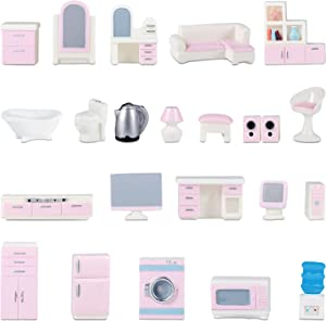 Liliful 26 Pieces Miniature Dollhouse Furniture Mini Dollhouse Furniture Models Set Miniature Bedroom Kitchen Laundry Room Bathroom Set Dollhouse Accessories Pretend Play Toys