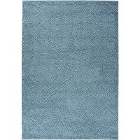 Well Woven Madison Shag Plain Light Blue Modern Solid Area Rug 33 X 53