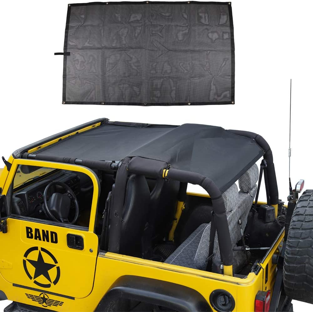 Roof Top Mesh SunShade Bikini Top Cover UV Protection for Jeep Wrangler TJ 1997+