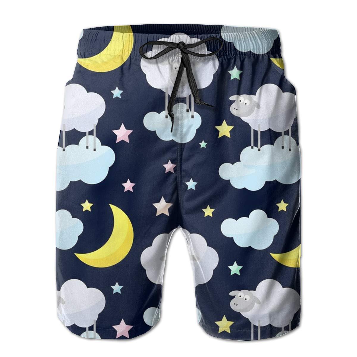 YongColer Boardshort Sheep Star Moonlight Boys Teen Quick Dry Sports Trunks