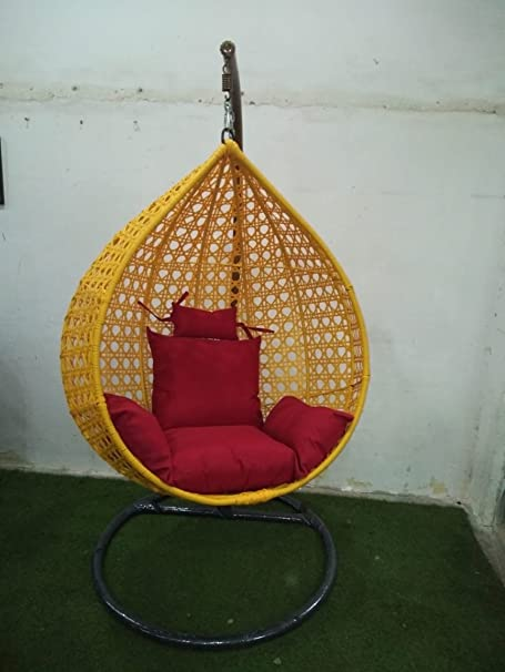 Wicker HUB GC412 Outdoor Swing with Stand Yellow