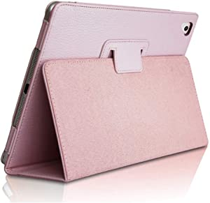 "iPad Air 2 Case,2018/2017 9.7 iPad/Cover,FANSONG Bifold Series Litchi Stria Slim Thin Magnetic PU Leather Smart Cover [Flip Stand,Sleep Function] Universal for Apple iPad Air/Air 2/Pro(9.7""), Pink"