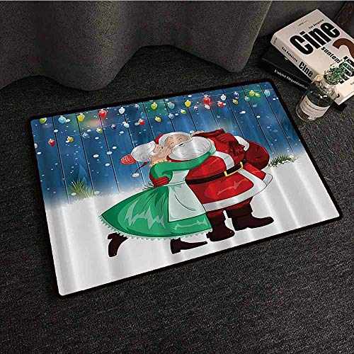 Holiday Season Christmas Decorations Front Door Mat Large Outdoor Indoor Mrs. Claus and Santa Sweet Kiss in Snow Fun Art Digital Design Super Absorbent mud W20 xL31 Blue Red Green and White -