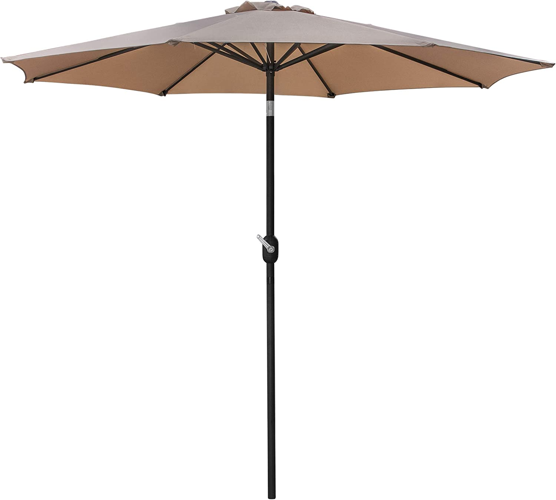 HANGKAI 9FT Outdoor Patio Umbrella Waterproof UV-Protection Garden Sunshade Umbrella Aluminum Crank w/8Ribs