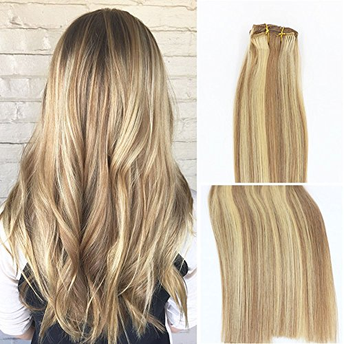 Vario Clip in Hair Extensions 20Inch 7pcs 70g Set #18/613 Mixed Bleach Blonde Silky Straight 100% Real Remy Human Hair Extensions Balayage Hair
