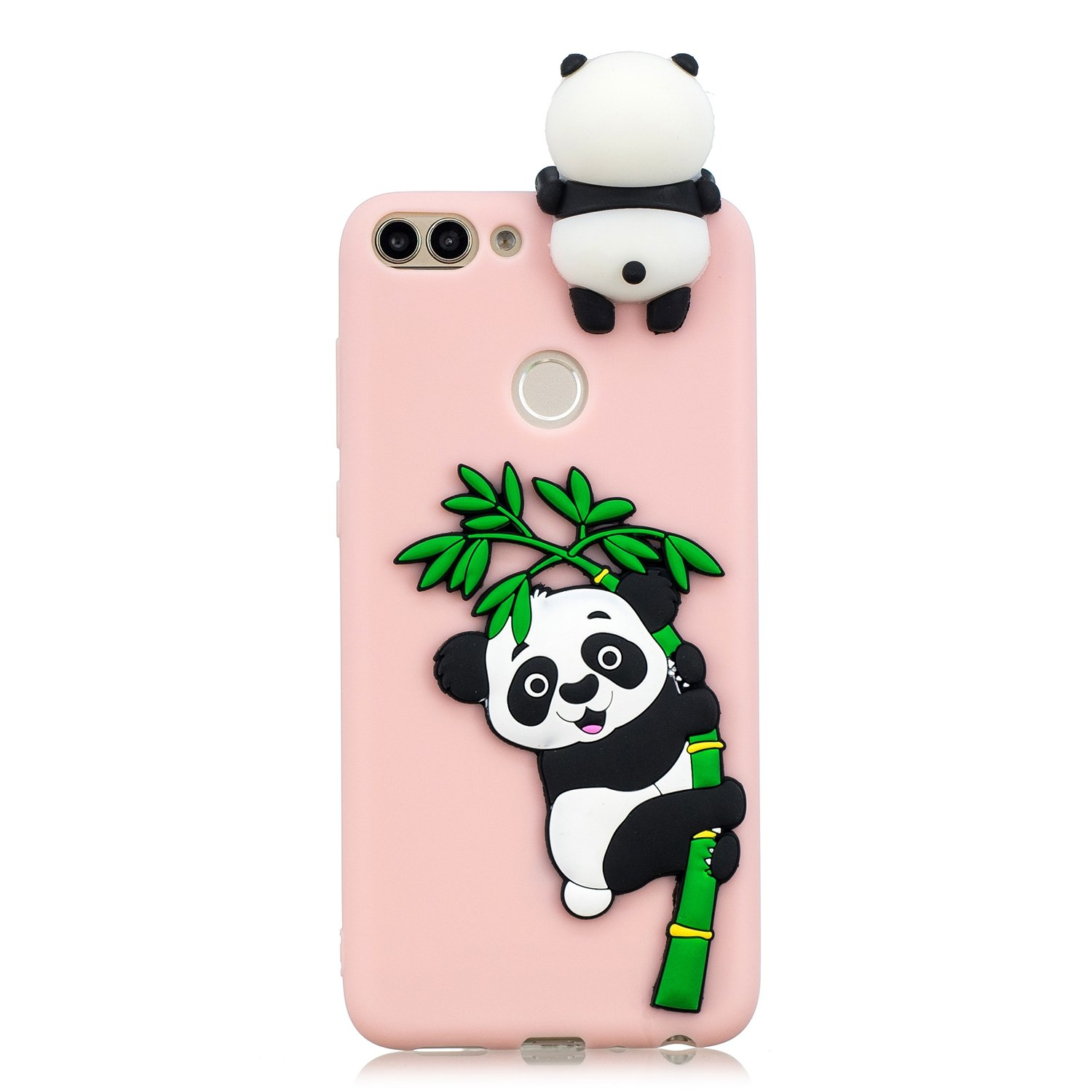 FNBK Phone Case for Huawei P Smart, Cute 3D Cartoon White Panda Cover Christmas Gift for Kids Ultra Thin Slim Fit Plastic Hard PC Transparent Clear Protective Back Bumper Phone Cover