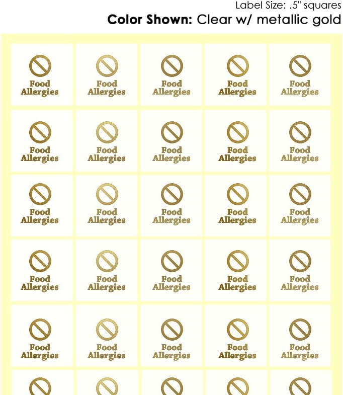 Savor The Memories Meal Stickers for Place Cards (Gold or Black) (Clear with Gold Icon, Food Allergies 1-Slash Symbol)