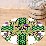 VROSELV Custom carpetCeltic Decor Collection Celtic Knot Design on Christian Cross Icon Wreath Flowers Retro Floral Welsh Pattern Bedroom Living Room Dorm Mustard Green Round 72 inches