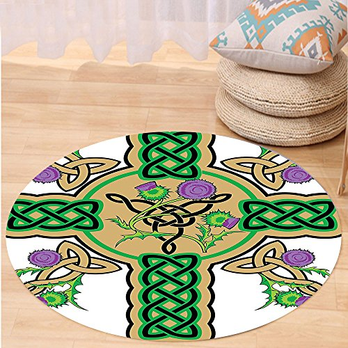VROSELV Custom carpetCeltic Decor Collection Celtic Knot Design on Christian Cross Icon Wreath Flowers Retro Floral Welsh Pattern Bedroom Living Room Dorm Mustard Green Round 72 inches by VROSELV