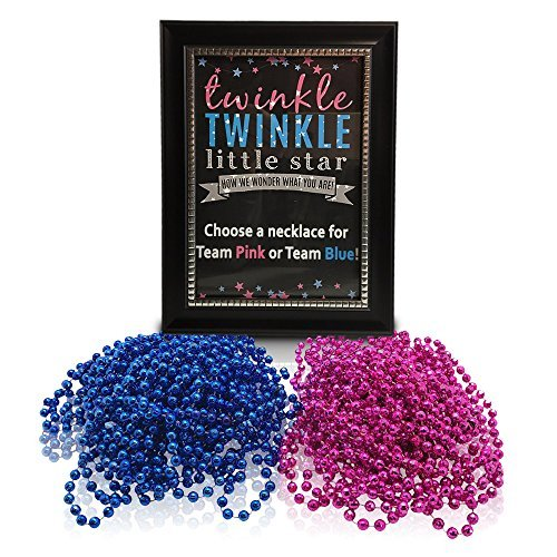 Gender Reveal Party Supplies-Twinkle Twinkle Little Star Sign With Gender Reveal Necklaces (1doz pink and 1 doz blue)-Baby Reveal Party Decorations ()