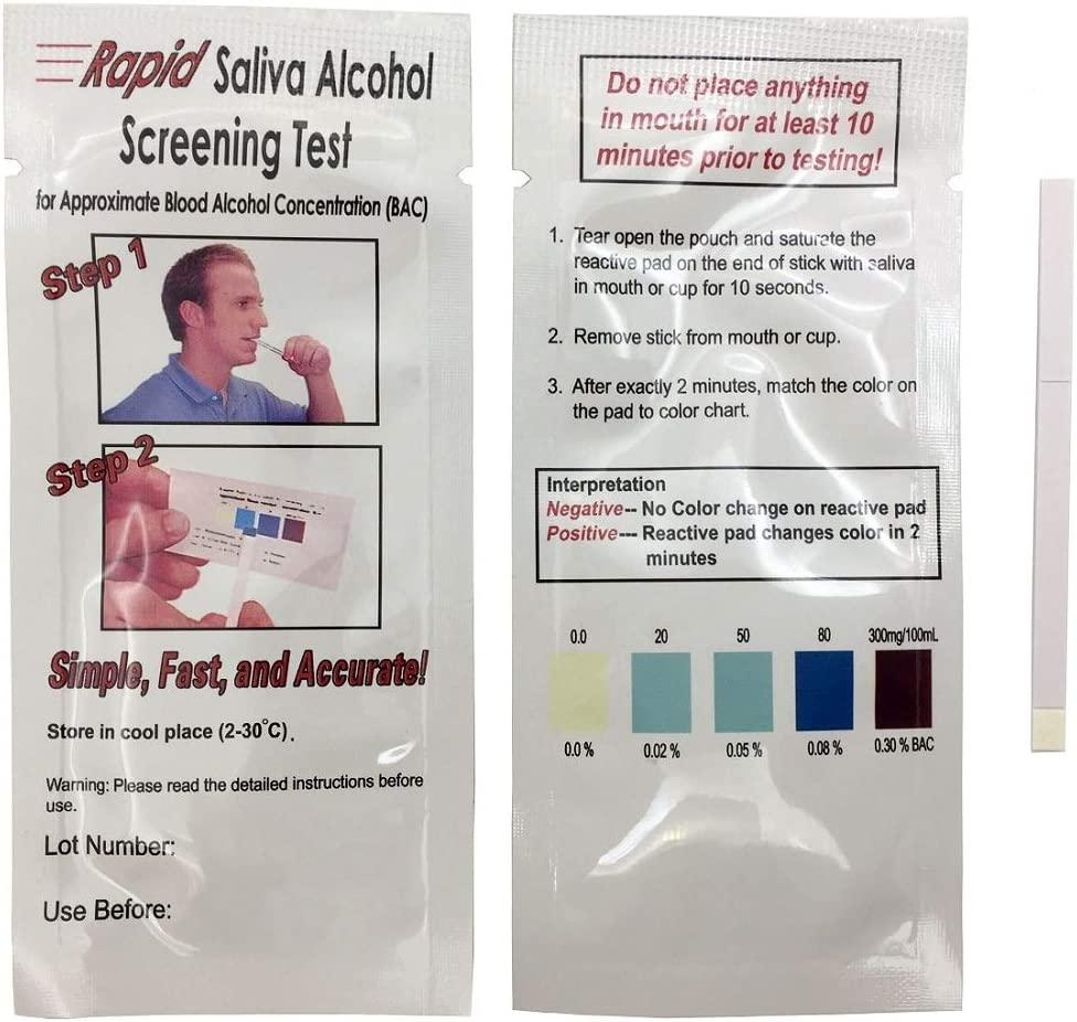 INVBIO Home Alcohol Saliva Test Strips Kit, Accurate and 2 Minutes Testing Time to Get Results (2 Pack)