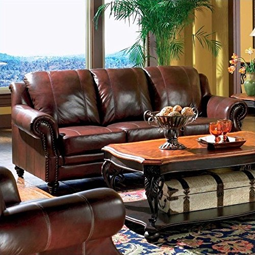 Burgundy Leather Furniture - Princeton Rolled Arm Sofa Burgundy