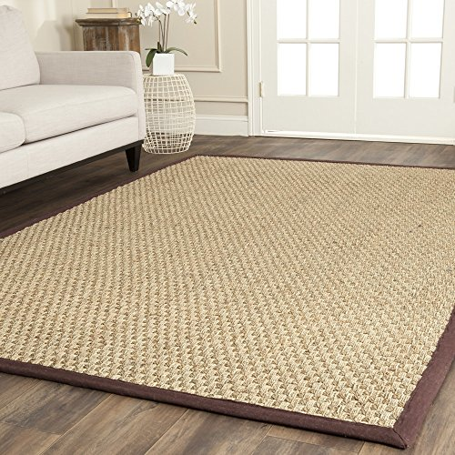 Safavieh Natural Fiber Collection NF114K Basketweave Natural and  Dark Brown Seagrass Area Rug (5' x 8') (Beige Rectangle Rug Dark)
