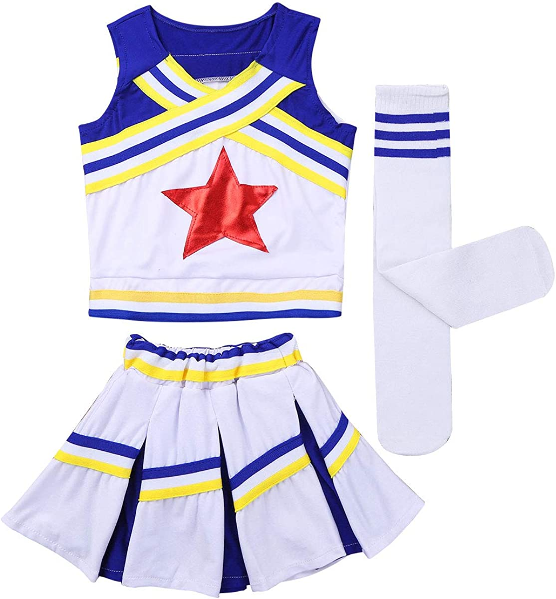 Yeahdor Girls' Patriotic Cheerleading Outfit Uniform Costume Carnival Party Christmas Cosplay Outfits