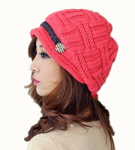 WAWO Rouge Mode Femmes Chaud d hiver Bonnet en Tricot Crochet Chapeau Baggy  Beanie Cap Bouton Ceinture TressšŠe DšŠcoratif SurdimensionnšŠ Casquette De  Ski ... e9653503ee8