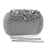 Women's Night Club Evening Package Prom Bar Party Wedding Fashion Clutch Temperament Sexy Shoulder Bags,Silver-OneSize