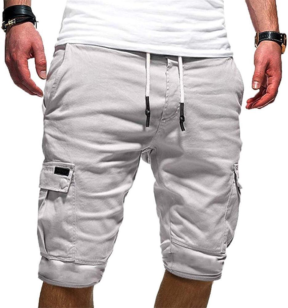 varios bolsillos Pantalones cortos de carga para hombre cintura el/ástica VANVENE casual ajuste relajado para trabajo al aire libre