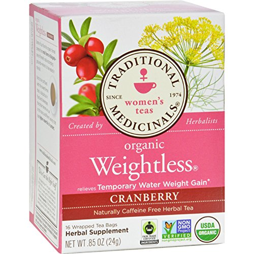 Traditional Medicinals Organic Weightless Cranberry Herbal Women's Tea - Caffeine Free - 16 Bags - Relieves Temporary Water Weight Gain (Cranberry Organic Tea)