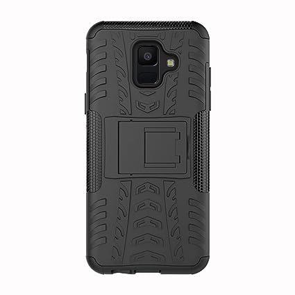 KISCO para Fundas Samsung Galaxy J4 Plus,2 en 1 Híbrido Suave TPU y Duro PC Anti-Rasguño Carcasa Cover Case con Soporte Cover de Protección para ...