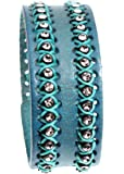 Women's Stylish Aqua Teal Blue Leather Wrap Cuff Bracelet with Adjustable Snaps