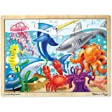 Melissa & Doug Under the Sea Ocean Animals Wooden Jigsaw Puzzle With Storage Tray (24 pcs)
