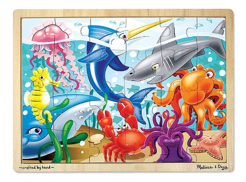 Melissa & Doug Under the Sea Ocean Animals Wooden Jigsaw Puzzle With Storage Tray (24 pcs) for $<!--$8.79-->