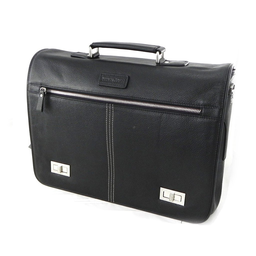 Leather bag Jacques Esterel black full grain special computer .
